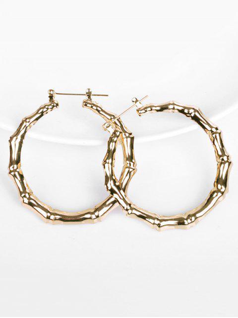 unique Bamboo Design Hoop Metal Earrings - GOLD  Mobile