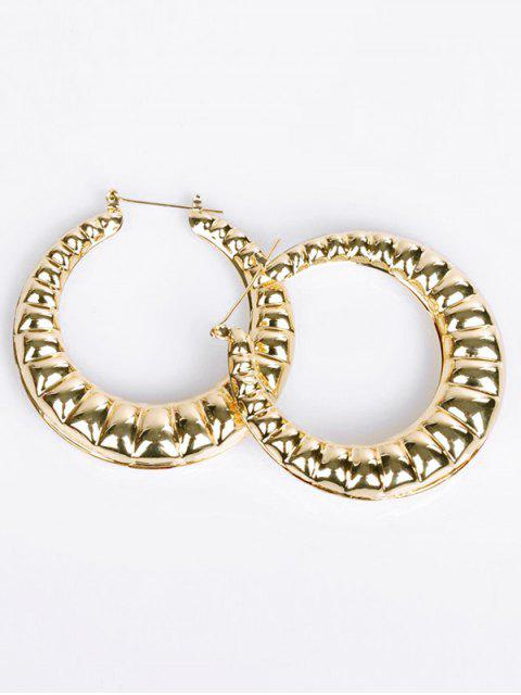 chic Round Design Hollow Out Earrings - GOLD  Mobile