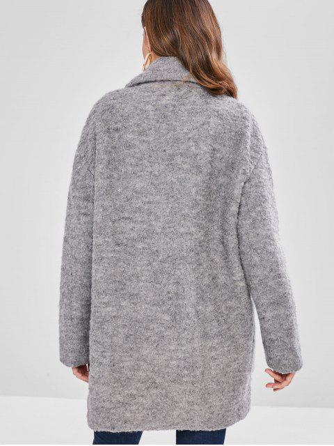 online Lapel Wool Blend Peacoat - LIGHT GRAY L Mobile