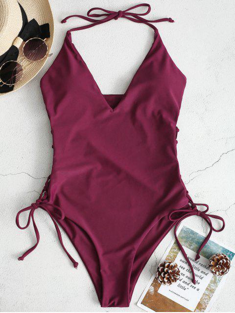 new ZAFUL High Cut Lace-up Halter Swimsuit - PLUM VELVET S Mobile