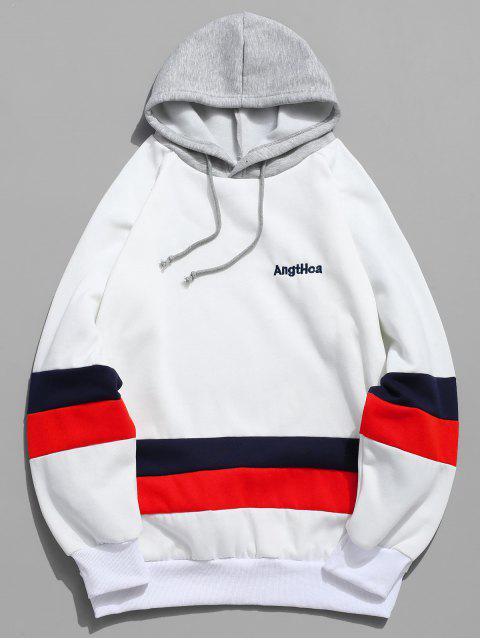 Kontrast Bestickte Buchstabe Vlies Hoodie - Weiß 2XL Mobile