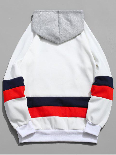 Kontrast Bestickte Buchstabe Vlies Hoodie - Weiß M Mobile