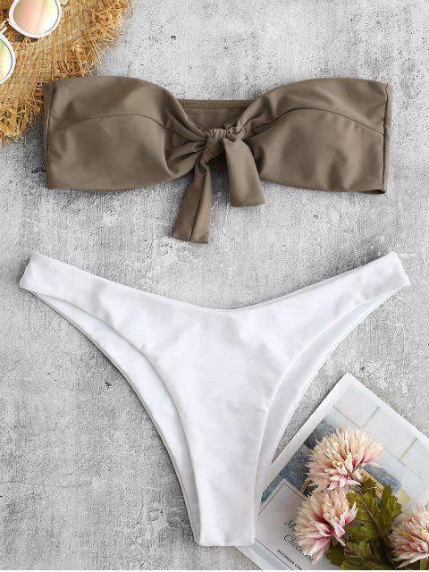 hot ZAFUL Front Knot Bandeau Bikini Set - DARK KHAKI L Mobile