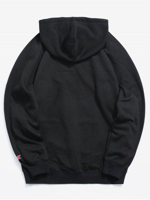 hot Kangaroo Pocket Fleece Lined Lightning Graphic Hoodie - BLACK M Mobile
