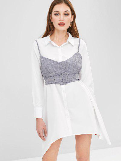 ZAFUL Plaid Cami Top Belted Asymmetric Dress - White L