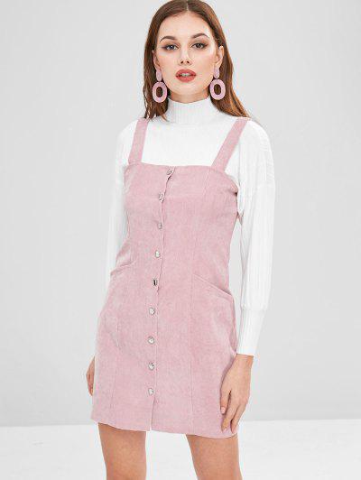Button Through Corduroy Pinafore Mini Dress