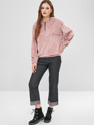 ZAFUL Half Zip Plain Faux Fur Hoodie, Lipstick pink