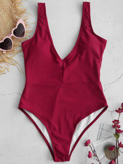 dc84aecc79a ZAFUL Plunge One Piece Swimsuit - Red Wine L