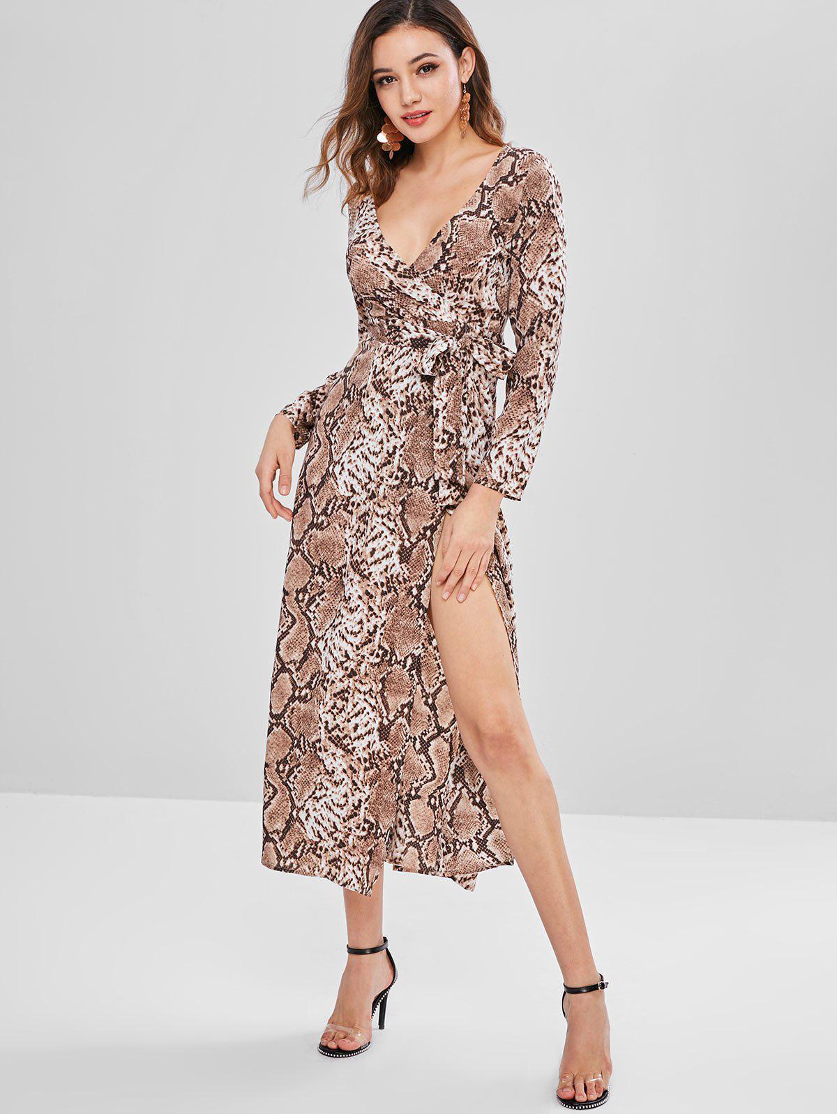 ZAFUL Snakeskin Print Belted Surplice Dress, Multi