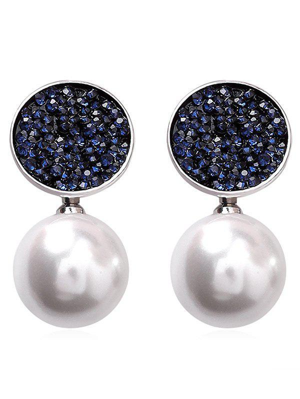 Round Shape Artificial Pearl Rhinestone Stud Earrings, Deep blue