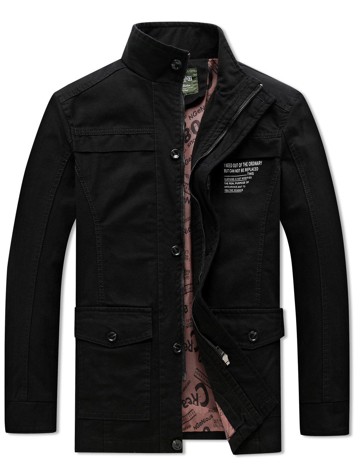 Solid Pockets Zipper Letters Print Casual Coat, Black