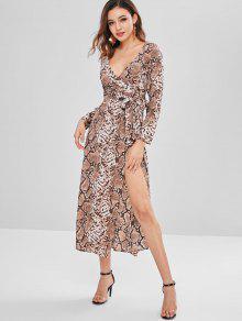 فستان ZAFUL Snakeskin مطبوع بالخرز - متعدد Xl
