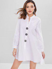 تباين أزرار قميص تونك اللباس - أبيض M
