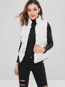 Puffer Zip Up جيب صدرية - أبيض