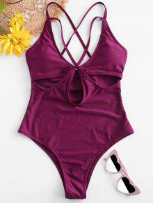 ZAFUL Criss Cross Cutout Swimsuit - أوركيد الظلام L