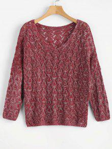 V Neck Loose Hollow Out Sweater