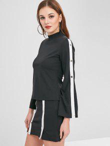 ZAFUL Buttons Slit Top And Skirt Set - أسود Xl