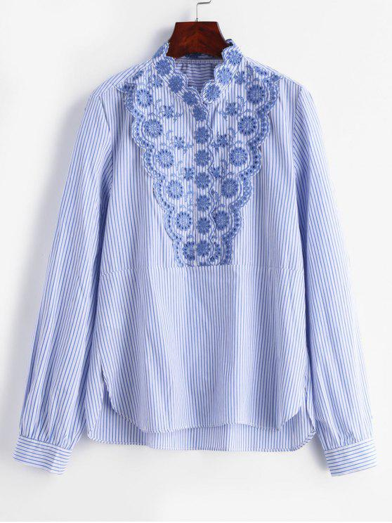 women's Striped Flower Embroidery Blouse - MULTI L