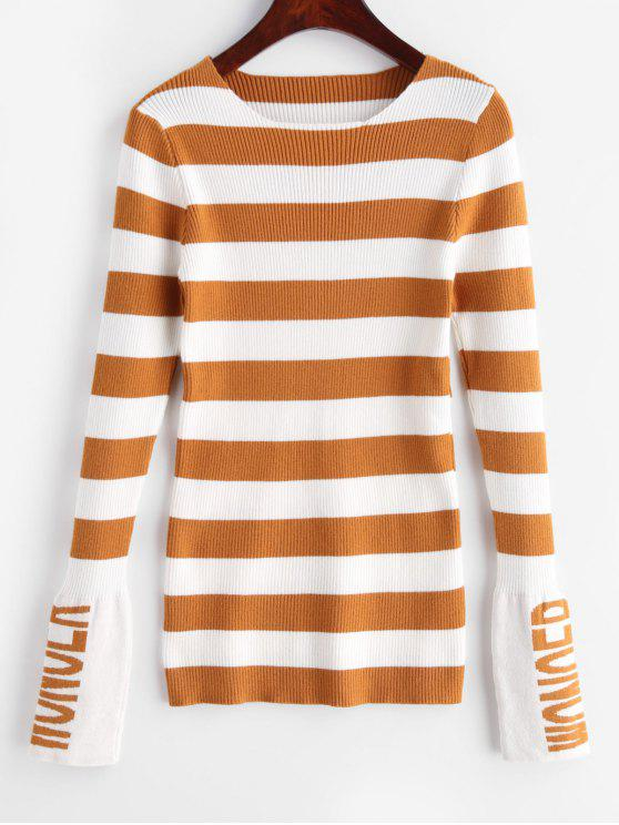 new Striped Letter Fitted Sweater - ORANGE GOLD ONE SIZE