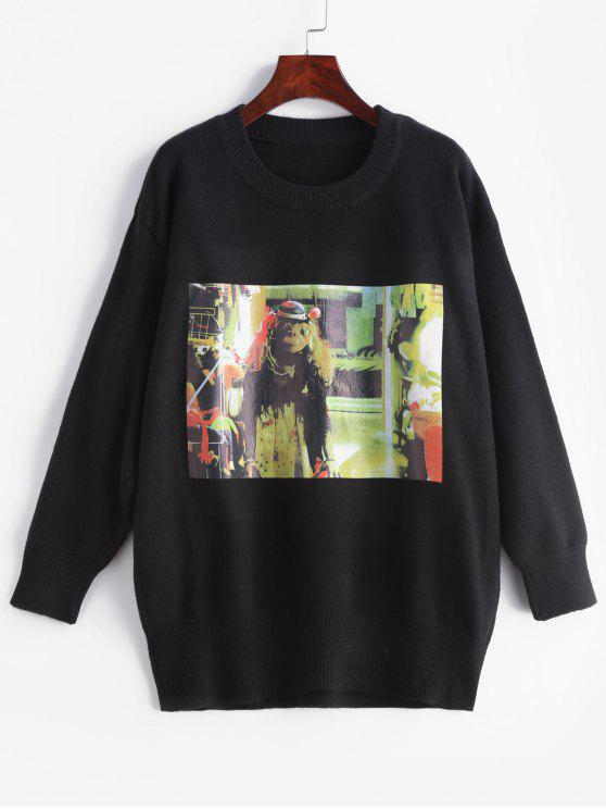 outfit Oil Painting Pattern Sweater - BLACK M