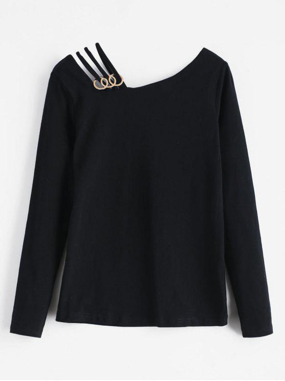 fashion Strappy Adymmetrical Nek Long Sleeve Tee - BLACK S