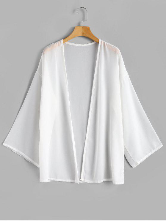 best Chiffon Flowy Open Front Top - WHITE ONE SIZE