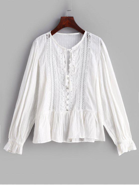 latest Lace Insert Hollow Out Blouse - WHITE L