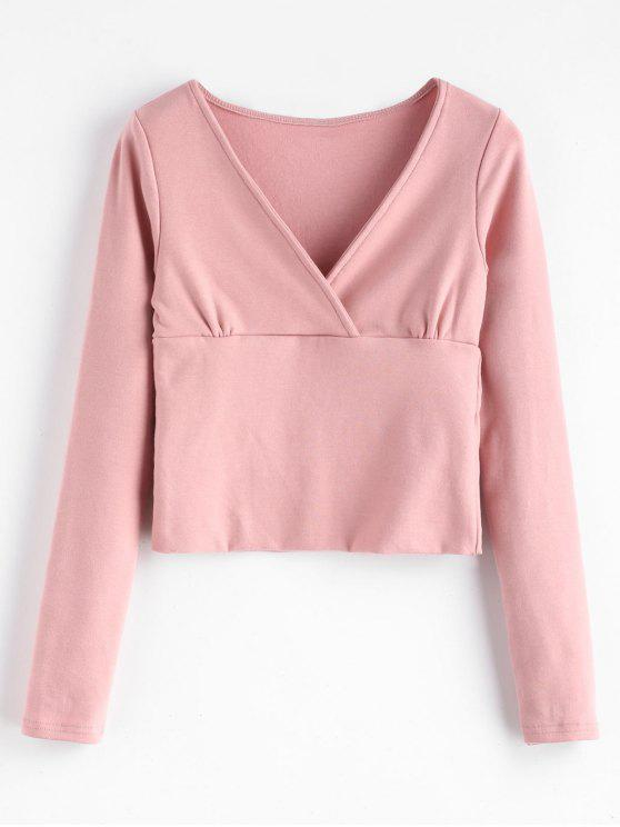 sale Brushed Jersey Cropped Long Sleeve Tee - PINK M