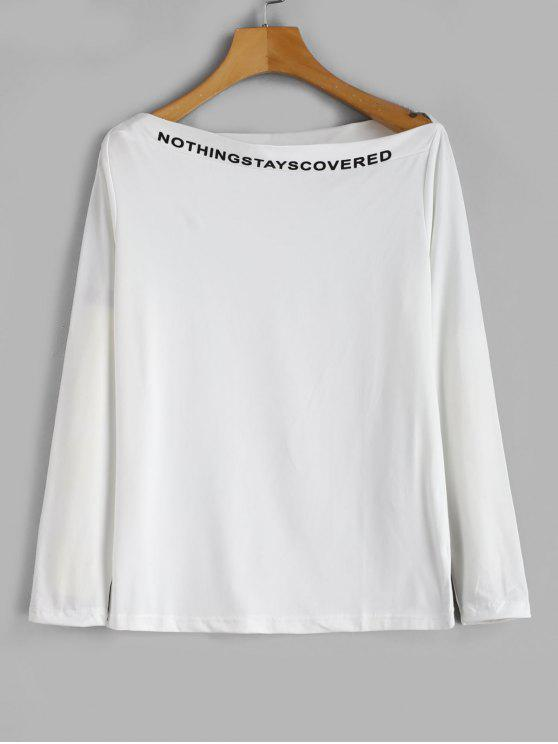 ladies Slogan Long Sleeve Slash Neck Tee - WHITE XL