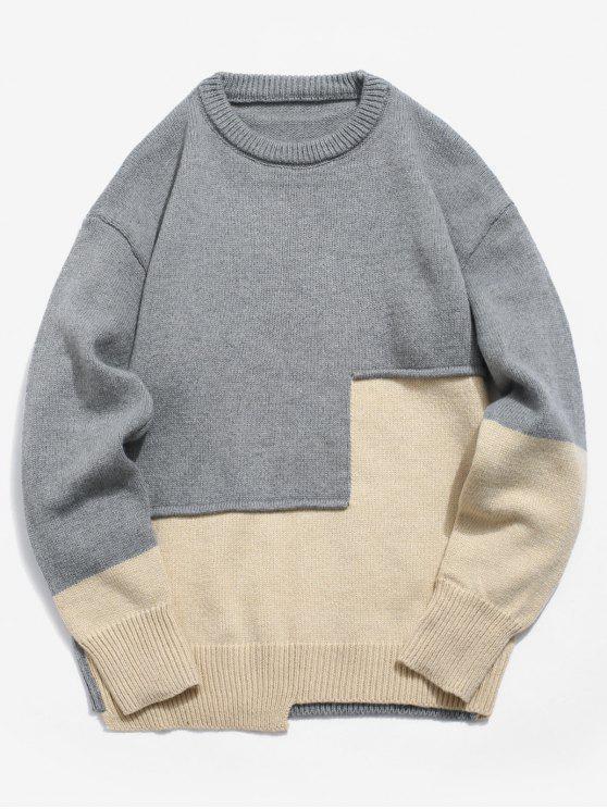 shop Panel Applique Pullover Sweater - ASH GRAY 2XL