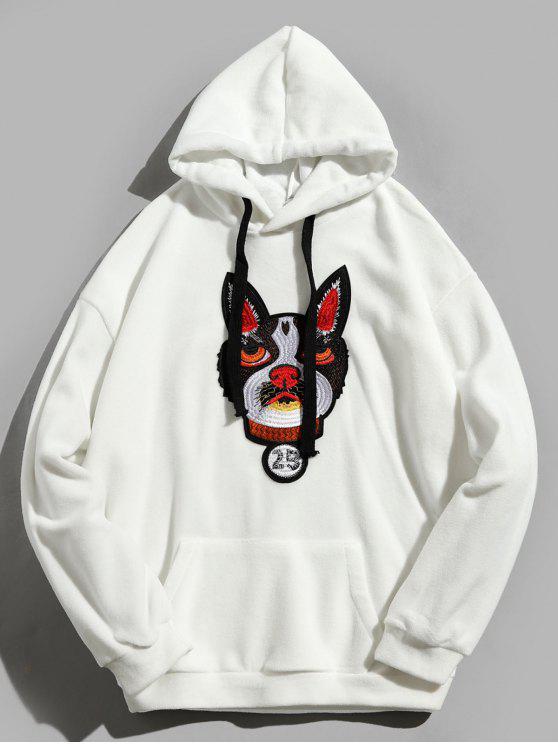 buy Kangaroo Pocket Dog Applique Fleece Hoodie - WHITE L