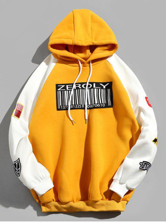 womens Colorblock Raglan Sleeves QR Code Applique Hoodie - YELLOW XL