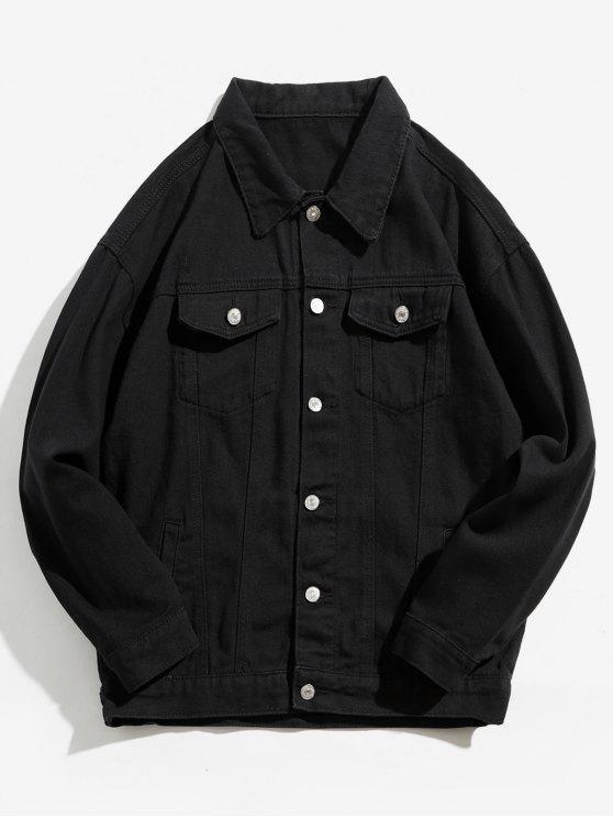 fashion Back Skull Graphic Denim Jacket - BLACK L