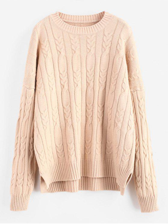 f729f80537ad74 32% OFF] 2019 Oversized Cable Knit Jumper In TAN | ZAFUL