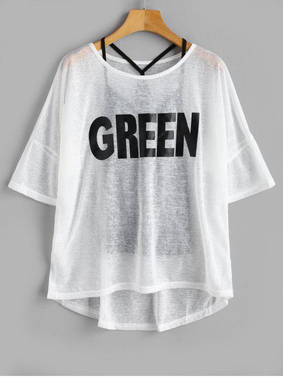Camiseta con estampado de rayas y top de cami. - Blanco L