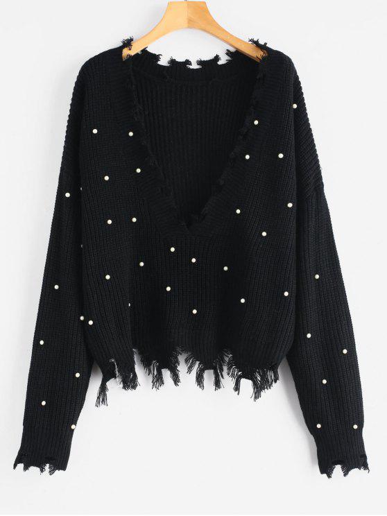 Suéter con cuello en v desgastado de perlas de imitación - Negro Talla única