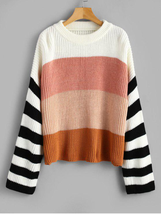 affordable Drop Shoulder Crew Neck Stripes Sweater - MULTI ONE SIZE
