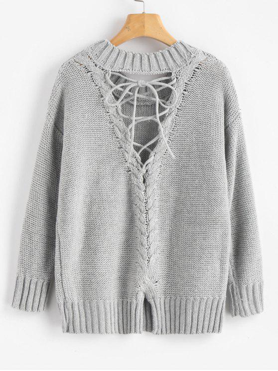 latest Lace Up Cut Out Back Sweater - LIGHT GRAY ONE SIZE