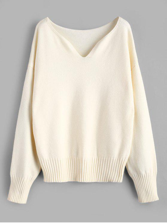 buy V Neck Drop Shoulder Plain Sweater - WHITE ONE SIZE