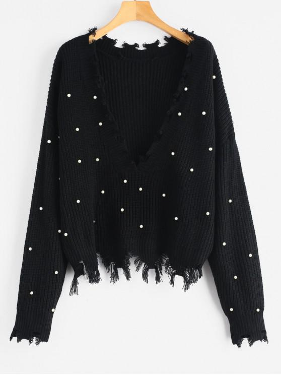 fancy Faux Pearls Frayed V Neck Sweater - BLACK ONE SIZE