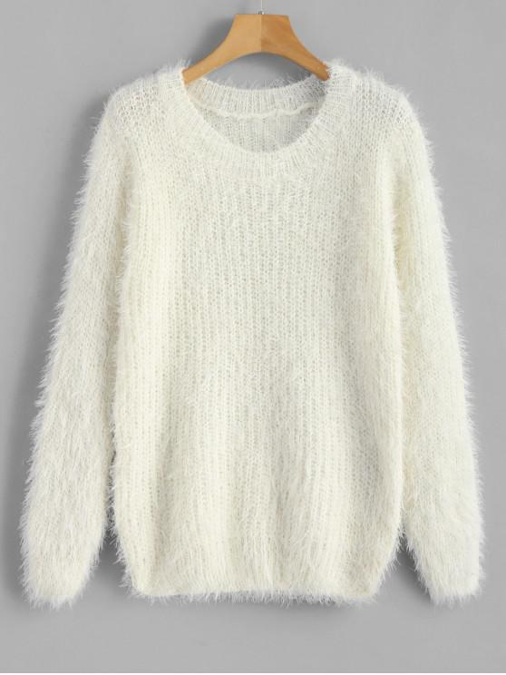 women's Crew Neck Plain Fluffy Sweater - WHITE ONE SIZE