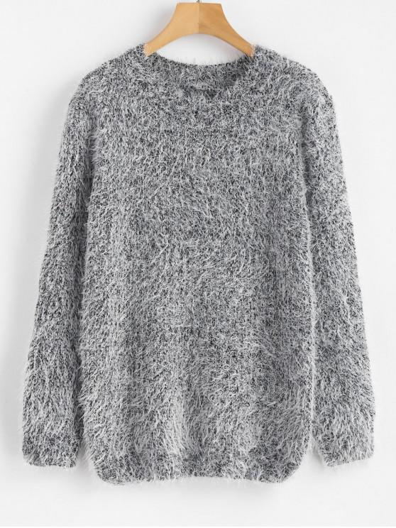 fashion Crew Neck Plain Fluffy Sweater - GRAY ONE SIZE