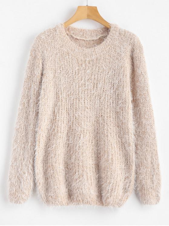 women Crew Neck Plain Fluffy Sweater - CORNSILK ONE SIZE