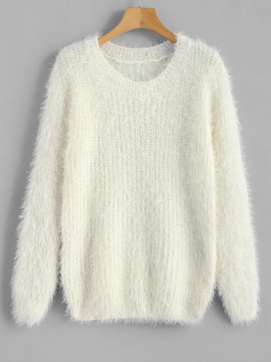 women's Crew Neck Plain Fluffy Sweater - WHITE ONE SIZE
