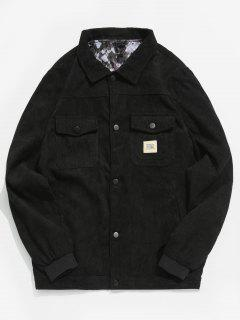 Solid Flap Pockets Corduroy Jacket - Black M