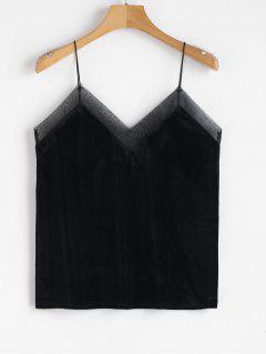 Shawdow Stripe Organza Trim Velvet Cami Top - Black S