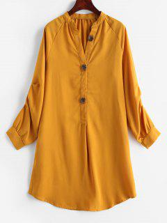 Robe Chemise Plissée à Ourlet Haut Bas à Manches Longues - Orange D'or M