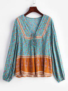 Blusa Pequeña Con Cordones Adornada - Multicolor L