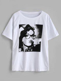 Camiseta De Mangas Cortas Con Gráfico Del Frente - Blanco