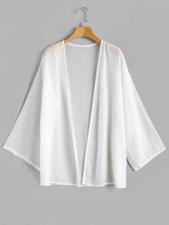 Chiffon Flowy Open Front Top - White